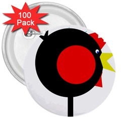 Fat chicken 3  Buttons (100 pack)
