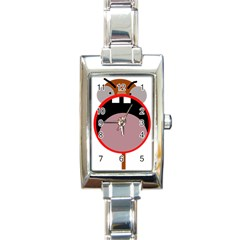 Funny face Rectangle Italian Charm Watch