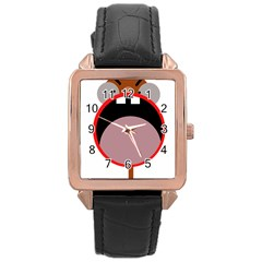Funny face Rose Gold Leather Watch