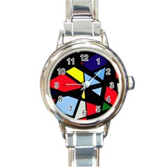 Colorful geomeric desing Round Italian Charm Watch