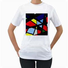 Colorful geomeric desing Women s T-Shirt (White) (Two Sided)