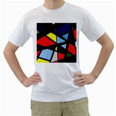Colorful geomeric desing Men s T-Shirt (White) (Two Sided)