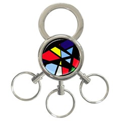 Colorful geomeric desing 3-Ring Key Chains