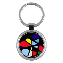 Colorful geomeric desing Key Chains (Round)