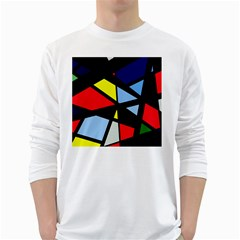 Colorful geomeric desing White Long Sleeve T-Shirts
