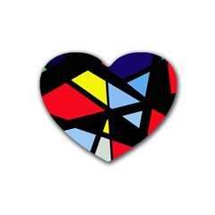 Colorful geomeric desing Rubber Coaster (Heart)