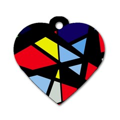 Colorful geomeric desing Dog Tag Heart (One Side)