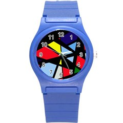 Colorful geomeric desing Round Plastic Sport Watch (S)