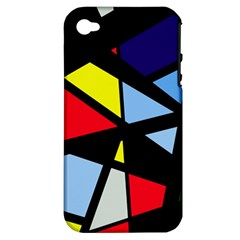 Colorful geomeric desing Apple iPhone 4/4S Hardshell Case (PC+Silicone)