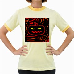 Halloween pumpkin Women s Fitted Ringer T-Shirts