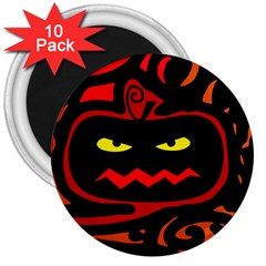 Halloween pumpkin 3  Magnets (10 pack)