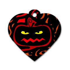 Halloween pumpkin Dog Tag Heart (Two Sides)