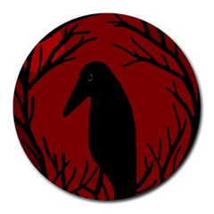 Halloween raven - red Round Mousepads