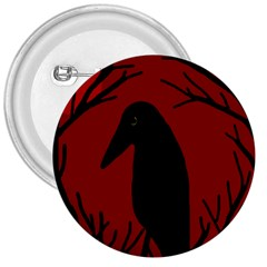 Halloween raven - red 3  Buttons