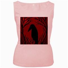 Halloween raven - red Women s Pink Tank Top