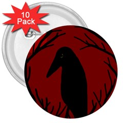 Halloween raven - red 3  Buttons (10 pack)