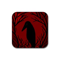 Halloween raven - red Rubber Square Coaster (4 pack)