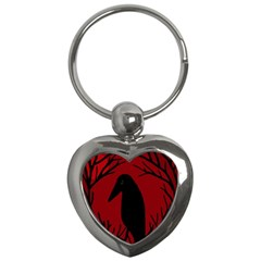 Halloween raven - red Key Chains (Heart)