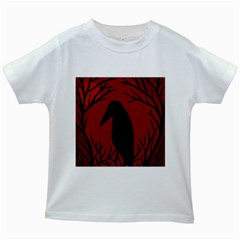 Halloween raven - red Kids White T-Shirts
