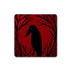 Halloween raven - red Square Magnet