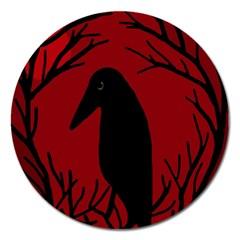 Halloween raven - red Magnet 5  (Round)
