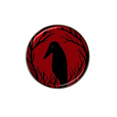 Halloween raven - red Hat Clip Ball Marker (4 pack)
