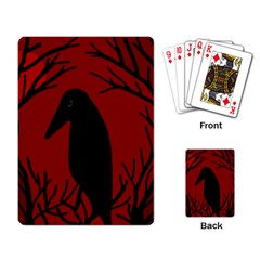 Halloween raven - red Playing Card