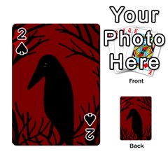Halloween raven - red Playing Cards 54 Designs