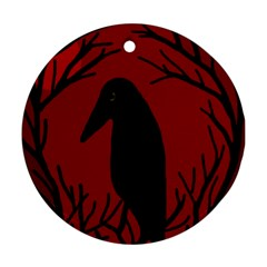 Halloween raven - red Round Ornament (Two Sides)