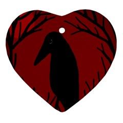 Halloween raven - red Heart Ornament (2 Sides)