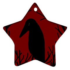 Halloween raven - red Star Ornament (Two Sides)