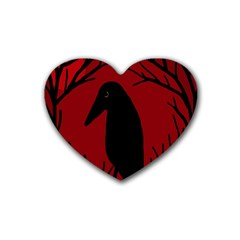 Halloween raven - red Rubber Coaster (Heart)