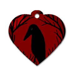 Halloween raven - red Dog Tag Heart (One Side)
