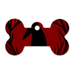 Halloween raven - red Dog Tag Bone (One Side)