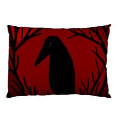 Halloween raven - red Pillow Case
