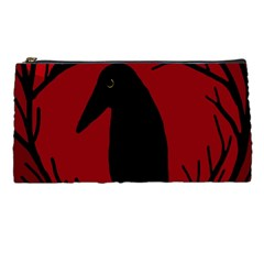 Halloween raven - red Pencil Cases