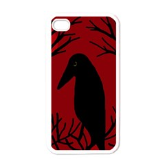 Halloween raven - red Apple iPhone 4 Case (White)