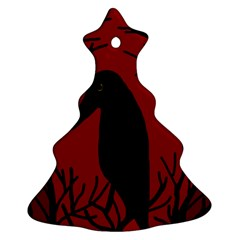 Halloween raven - red Christmas Tree Ornament (2 Sides)