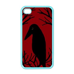 Halloween raven - red Apple iPhone 4 Case (Color)