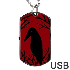 Halloween raven - red Dog Tag USB Flash (Two Sides)
