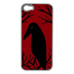 Halloween raven - red Apple iPhone 5 Case (Silver)