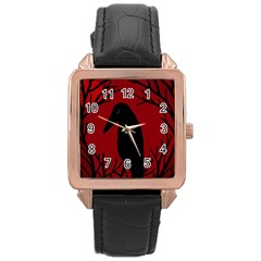 Halloween raven - red Rose Gold Leather Watch