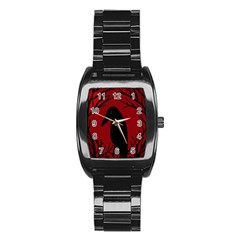 Halloween raven - red Stainless Steel Barrel Watch