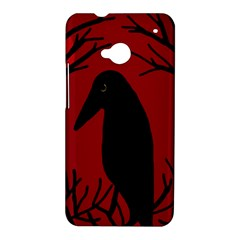 Halloween raven - red HTC One M7 Hardshell Case