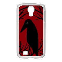 Halloween raven - red Samsung GALAXY S4 I9500/ I9505 Case (White)