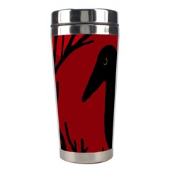 Halloween raven - red Stainless Steel Travel Tumblers