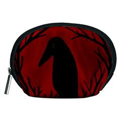 Halloween raven - red Accessory Pouches (Medium)
