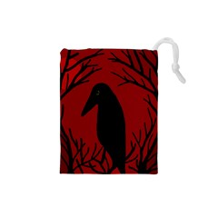 Halloween raven - red Drawstring Pouches (Small)