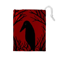 Halloween raven - red Drawstring Pouches (Large)