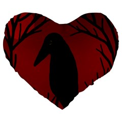 Halloween raven - red Large 19  Premium Flano Heart Shape Cushions
